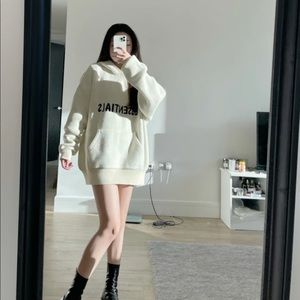 SOLD $229 Fear Of God Essentials Knit Hoodie Cream